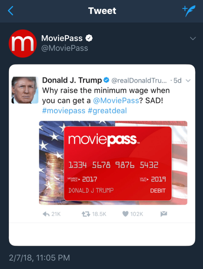 moviepass trump tweet